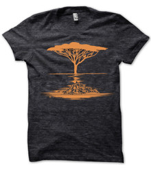 Acacia Tree printed on men's heather Black t shirt