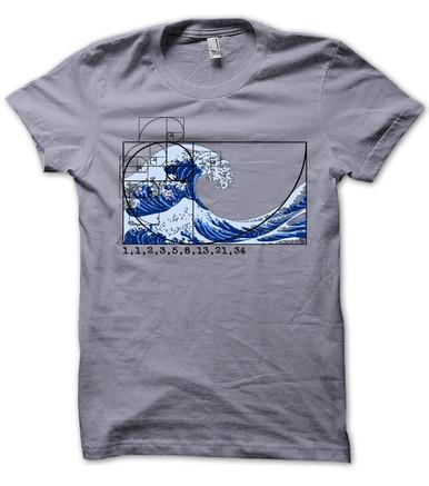 Fibonacci Spiral Wave mens T shirt