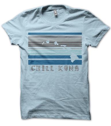 Chill Kona Hawaii Islands mens T Shirt Light Blue