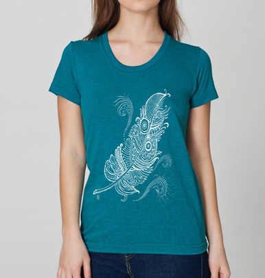 White Feather design on women's tri blend evergreen, American Apparel  T Shirt