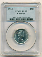 Canada Silver 1965 25 Cents PL65 PCGS