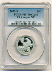 2012 S Clad El Yunque NP Quarter Proof PR70 DCAM PCGS Blue Label