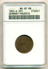 Germany -States- Prussia 1852 A 2 Pfennig MS65 RB ANACS