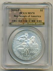 2010 P Boy Scouts Commemorative Silver Dollar MS70 Flag Label