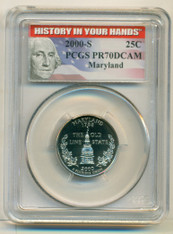 2000 S Clad Maryland State Quarter PR70 DCAM PCGS History Label