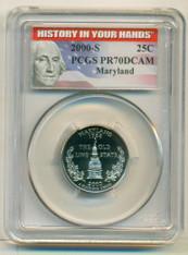 2000 S Clad Maryland State Quarter PR70 DCAM PCGS History Label