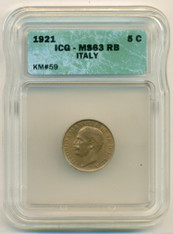 Italy 1921 R 5 Centesimi KM-59 MS63 RB ICG