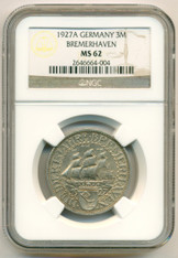 Germany -Weimar Republic- Silver 1927 A 3 Mark Bremerhaven MS62 NGC