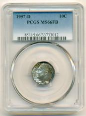 1957 D Roosevelt Dime MS66 FB PCGS