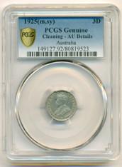Australia Silver 1925 (m,sy) 3 Pence AU Details PCGS Secure