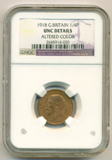 Great Britain 1918 1/4 Penny Farthing UNC Details NGC