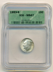 1953 S Roosevelt Dime MS67 ICG