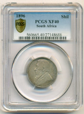 South Africa Silver 1896 Shilling XF40 PCGS Secure