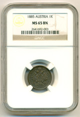 Austria 1885 Kreuzer MS65 BN NGC