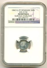 Denmark Silver 1842 K//FF 3 RBS KM-A730 AU Details NGC