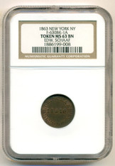 Civil War Token 1863 New York NY Ed. Schaaf F-630BK-1a MS62 BN NGC