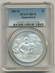 2007 P Jamestown Commemorative Silver Dollar MS70 PCGS