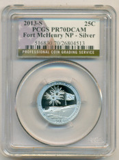 2013 S Silver Fort McHenry NP Quarter PR70 DCAM PCGS Flag Label