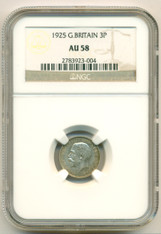 Great Britain Silver 1925 3 Pence AU58 NGC