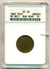 Great Britain 1860 Farthing Bun Head Toothed Border EF45 (BN) ANACS