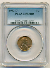 1942 D Lincoln Wheat Cent MS65 RED PCGS (Toned)