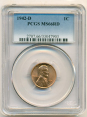 1942 D Lincoln Wheat Cent MS66 RED PCGS