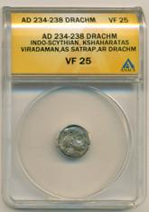 Indo-Scythian Viradaman AD 234-238 As Satrap AR Drachm VF25 ANACS