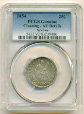 1854 Seated Liberty Quarter AU Details PCGS