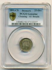 Denmark Silver 1891 CS 25 Ore AU Details PCGS Secure