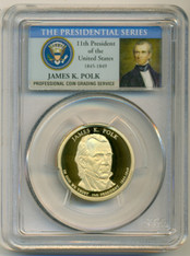 2009 S James K Polk Presidential Dollar PR70 DCAM PCGS Portrait Label