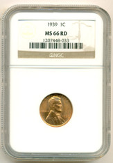 1939 Lincoln Wheat Cent MS66 RED NGC