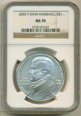 2005 P John Marshall Commemorative Silver Dollar MS70 NGC