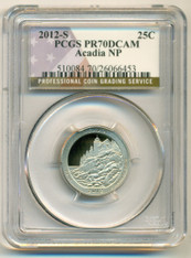 2012 S Clad Acadia NP ATB Quarter Proof PR70 DCAM PCGS Flag Label