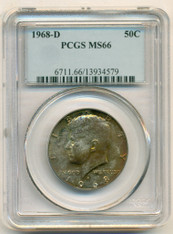 1968 D Kennedy Half Dollar 50 Cents MS66 PCGS Color