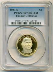2007 S Thomas Jefferson Presidential Dollar Proof PR70 DCAM PCGS