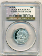 2013 S Clad Mount Rushmore NP Quarter Proof PR70 DCAM PCGS Flag Label