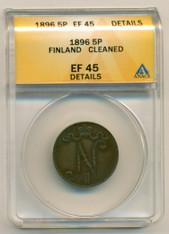 Finland 1896 5 Pennia EF45 Details ANACS