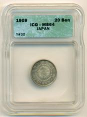 Japan Silver 1909 20 Sen MS64 ICG