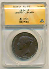 Great Britain 1854 Penny Plain Trident/Small Date/with W AU55 Details ANACS