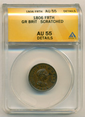 Great Britain 1806 Farthing AU55 Details ANACS