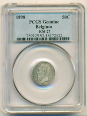 Belgium Silver 1898 50 Centimes KM-27 Genuine PCGS