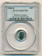1968 D Roosevelt Dime MS67 FB PCGS