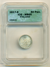 Finland Silver 1917 S 50 Pennia No Crown MS65 ICG