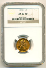 1939 Lincoln Wheat Cent MS67 RED NGC