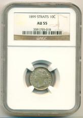Straits Settlements Silver 1899 10 Cents AU55 NGC