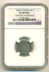Austria Silver 1849 A 6 Kreuzer XF Details NGC