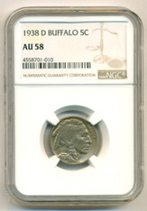1938 D Buffalo Nickel AU58 NGC