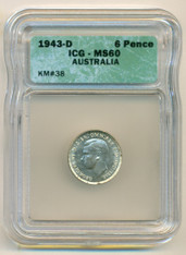 Australia Silver 1943 D 6 Pence MS60 ICG