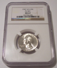 1947 S/S Washington Quarter RPM Variety FS-501 MS67 NGC
