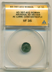 Roman Empire Arcadius AD 397-402 AE 12mm Constantinople VF 35 ANACS